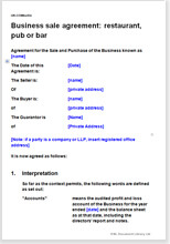 Business Sale Agreement: Restaurant; Pub Or Bar  Business Sale Contract Template