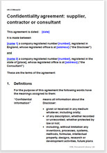 Confidentiality Agreement Supplier Contractor Or Consultant
