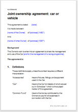 Joint ownership agreement for a car joint ownership agreement car or vehicle platinumwayz