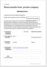 Share transfer form: private company | Legal document templates