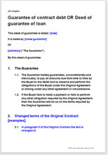 workmanship guarantee template - deed of guarantee of contract debt with option for changed