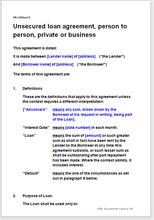 Unsecured Loan Agreement: Person To Person; Private Or Business  Loan Templates