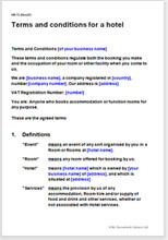 Hotel booking terms and conditions template | net lawman australia.