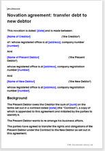 Novation Agreement Transfer Debt To New Debtor