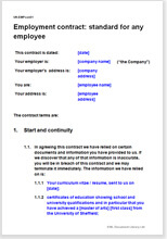 sample employee contract template