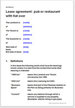 Lease Agreement Template Pub Or Restaurant With A Flat Above - Restaurant lease agreement template