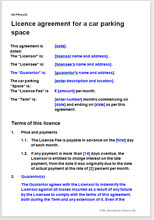 Licence agreement for a car parking space view sample document front cover maxwellsz