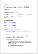 Shareholders agreement sample and download a template shareholders agreement existing company platinumwayz