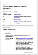 Domain Name Sale And Transfer Agreement Template