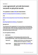 Loan Agreement: Private Borrower; Secured On Physical Assets  Personal Loan Document Template
