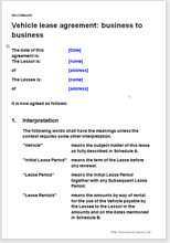 Vehicle lease agreement business to business for Car lease agreement template uk