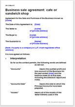 Business Sale Agreement: Café Or Sandwich Shop
