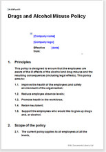 Drug and alcohol misuse policy template