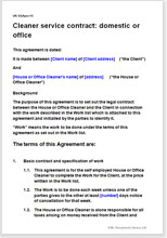 Cleaner Service Contract Template Office Or Domestic Cleaning - Legal contract for services template