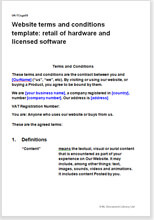 Website terms conditions template retail of hardware for Retail terms and conditions template