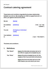 Contract catering agreement terms conditions template for Director employment contract template