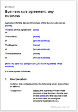 Sample page from the business sale agreement