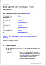 Retail business sale agreement template sale agreement trading or retail business wajeb Images