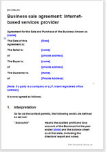 Sample page from the Internet services business sale agreement