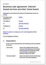 Sample page from the Internet home-based business sale agreement