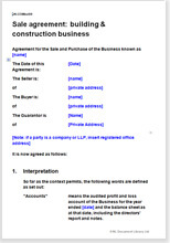 Sample page from the construction business sale agreement