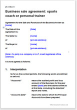 Sample page from the personal trainer or sports coach business sale agreement