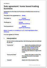 Sample page from the home based trading business sale agreement