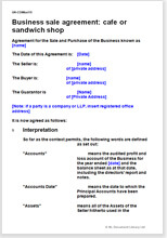 Sample page from the café or sandwich shop business sale agreement