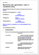 First page of the café or sandwich shop business sale agreement