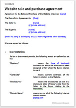 Sample page from the website sale agreement