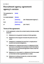 Sample page from the employment agency agreement