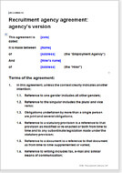 First page of the employment agency agreement