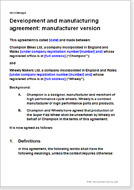First page of the manufacturing agreement