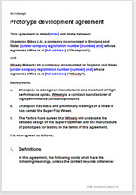 Sample page from the prototype development agreement