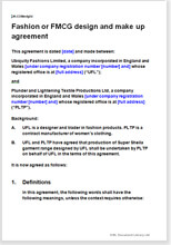 Sample page from the fmcg design and make agreement