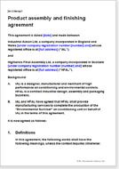 First page of the product assembly and finishing agreement