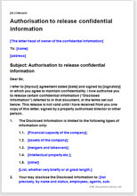 Sample page from the authorisation to release confidential information