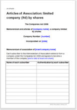 Sample page from the articles of association for a limited company
