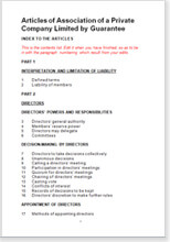 Sample page from the articles of association for a company limited by guarantee