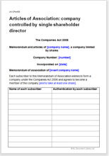 Sample page from the articles of association for a company controlled by one shareholder director