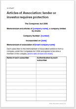 Sample page from the articles of association for a company with professional investors