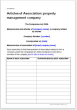 Sample page from the articles of association for a property management company