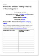 First page of the articles for a trading company with vesting shares