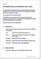 First page of the football club constitution and rules
