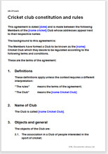 Sample page from the cricket club constitution and rules