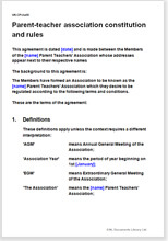 Sample page from the parent-teacher association constitution and rules