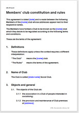 Sample page from the members' club constitution and rules