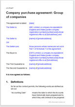 Sample page from the group of companies sale agreement
