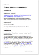 Sample page from the examples of company resolutions
