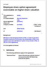 Sample page from the employee share option agreement